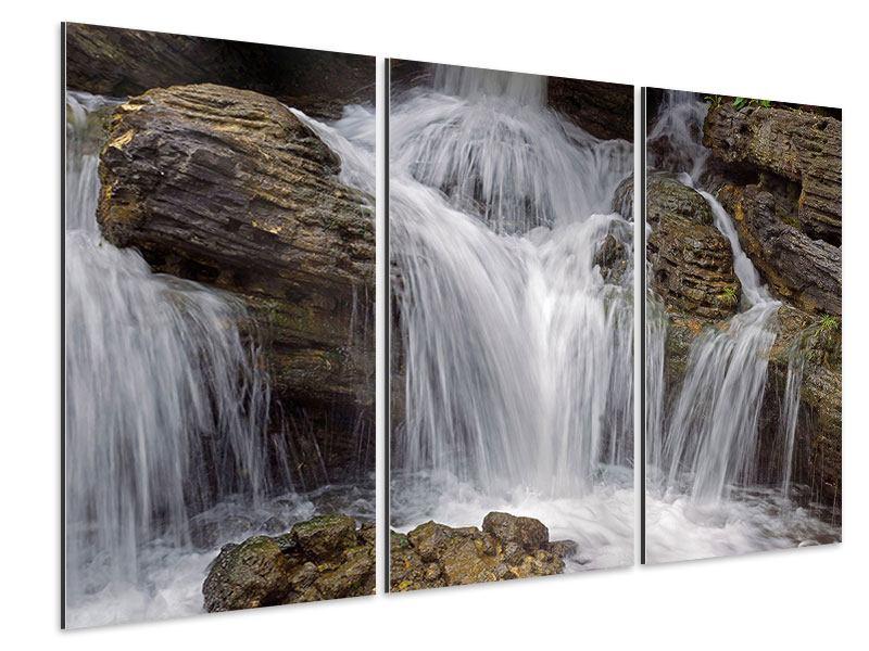Aluminiumbild 3-teilig Wasserfall XXL