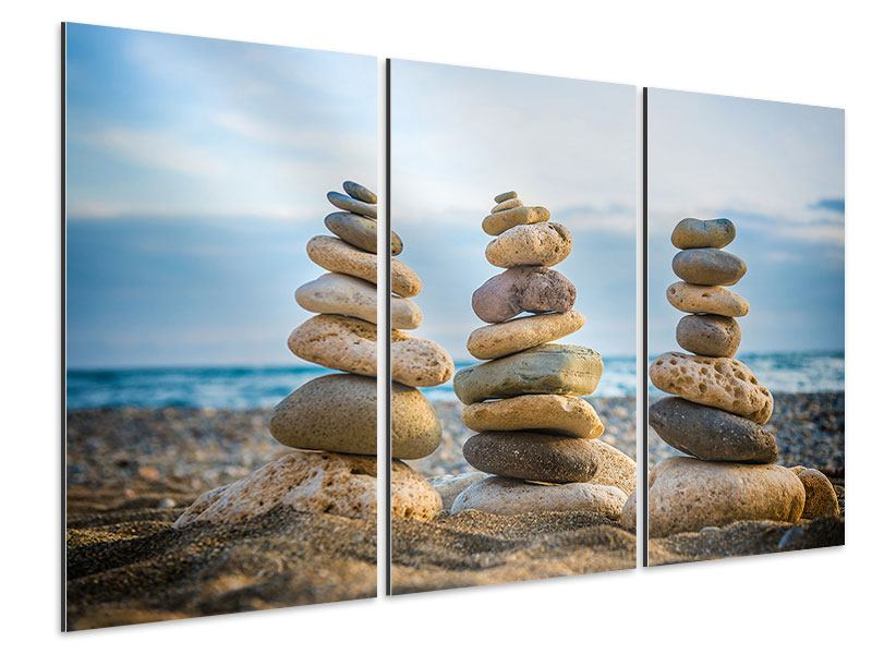 Aluminiumbild 3-teilig Drei Steinstapel