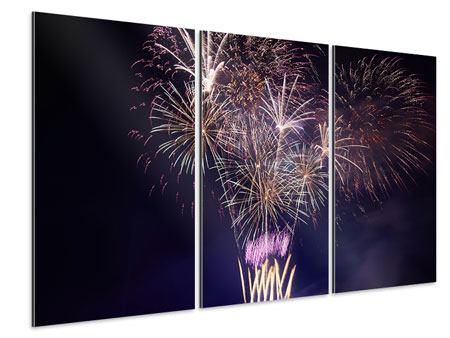 Aluminiumbild 3-teilig Feuerwerk