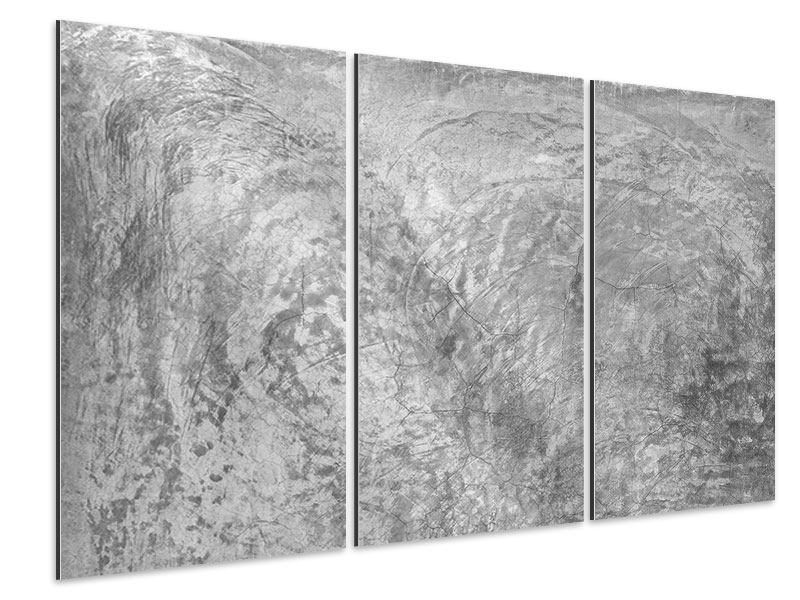 Aluminiumbild 3-teilig Wischtechnik in Grau