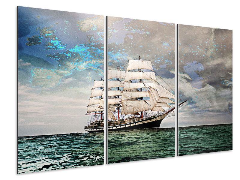 Aluminiumbild 3-teilig Segelschiff