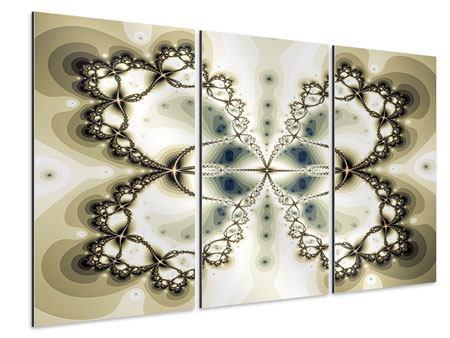 Aluminiumbild 3-teilig Abstrakter Schmetterling