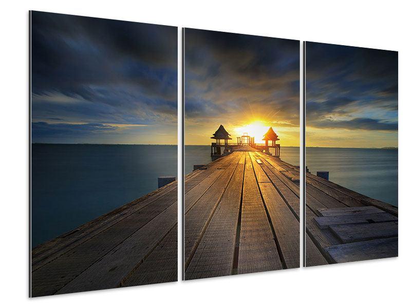 Aluminiumbild 3-teilig Der Sonnenuntergang bei der Holzbrücke