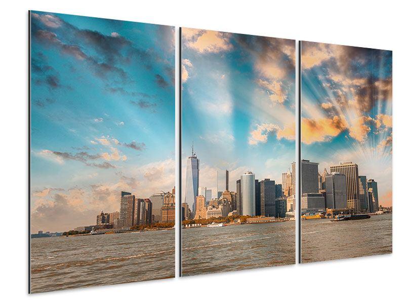 Aluminiumbild 3-teilig Skyline New York from the other Side