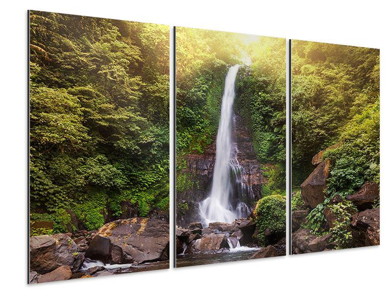 Aluminiumbild 3-teilig Wasserfall Bali
