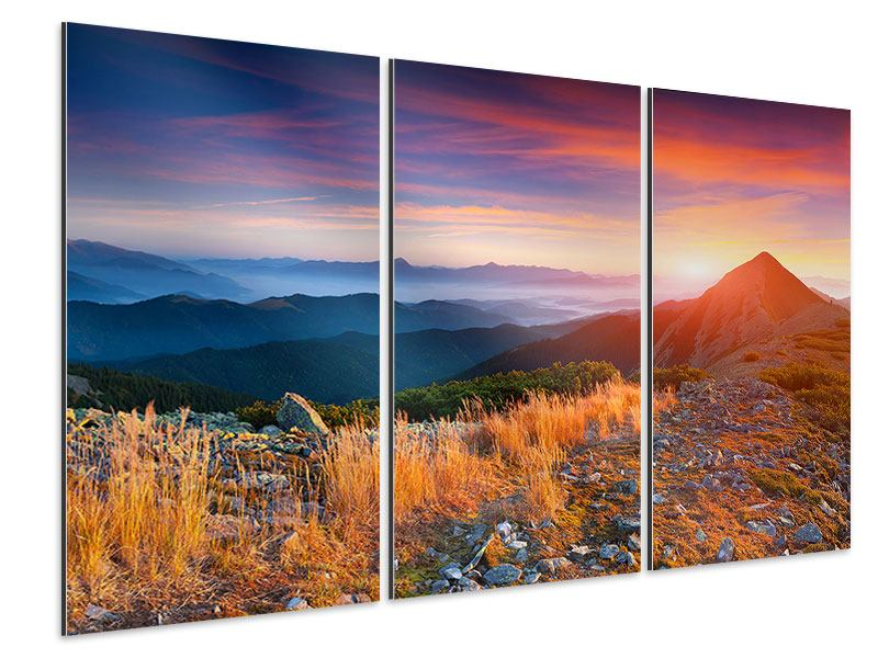 Aluminiumbild 3-teilig Sonnenuntergang in den Alpen
