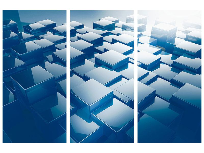 Aluminiumbild 3-teilig 3D-Cubes