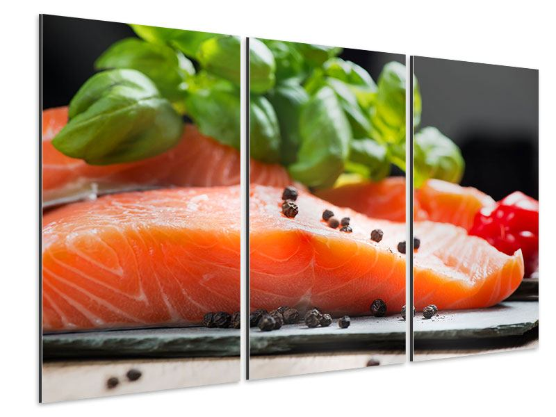 Aluminiumbild 3-teilig Frischer Fisch