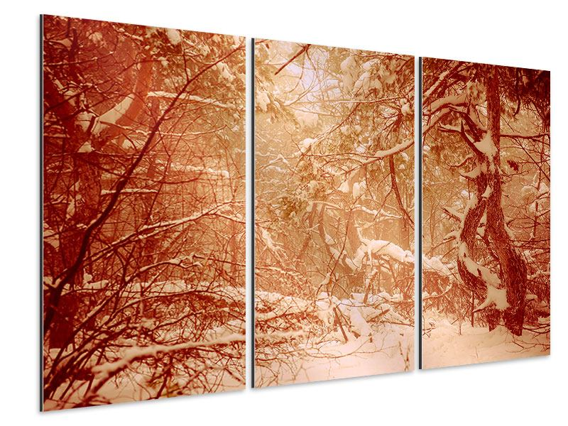 Aluminiumbild 3-teilig Schneewald