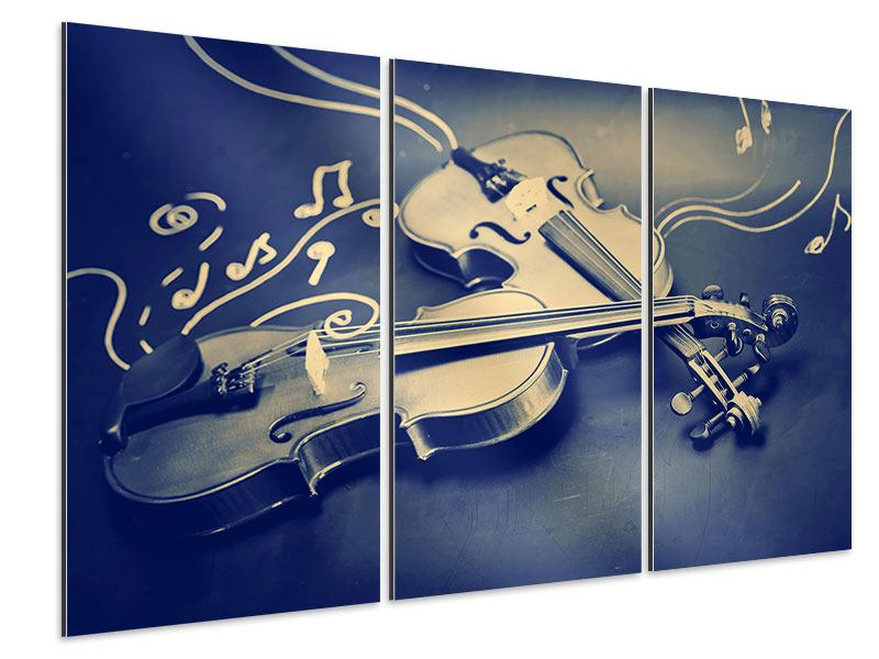 Aluminiumbild 3-teilig Geigen
