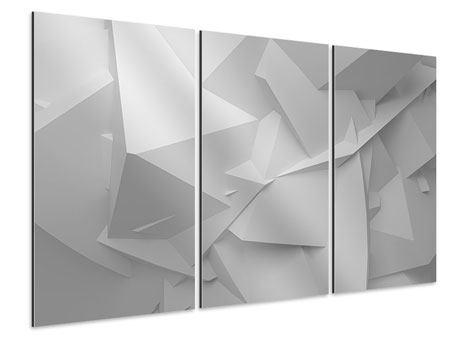 Aluminiumbild 3-teilig 3D-Raster