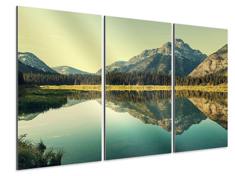 Aluminiumbild 3-teilig Der Bergsee