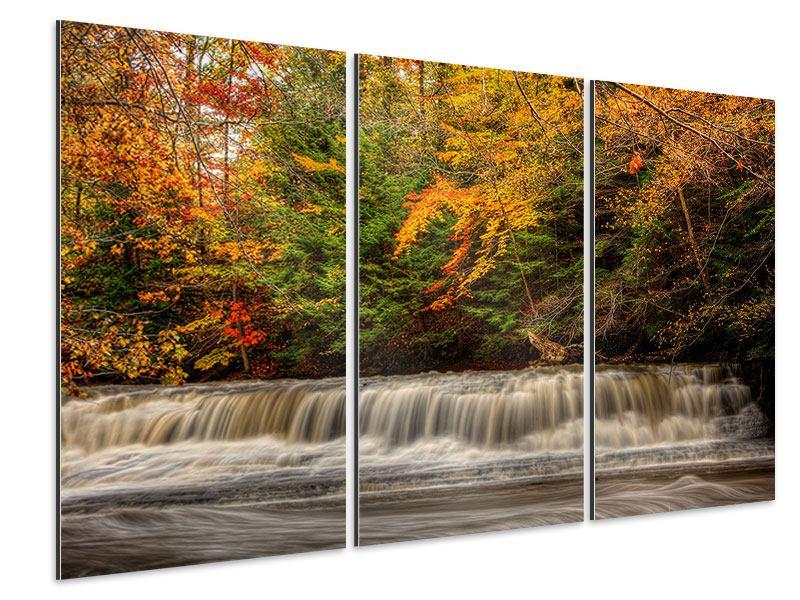 Aluminiumbild 3-teilig Herbst beim Wasserfall