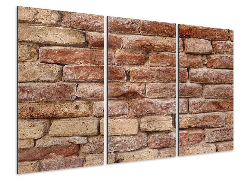 Aluminiumbild 3-teilig Loft-Mauer