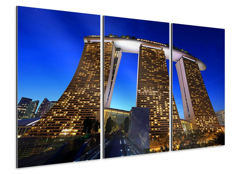 Aluminiumbild 3-teilig Wolkenkratzer Singapur