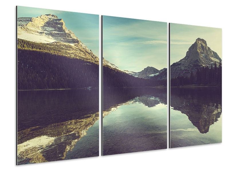 Aluminiumbild 3-teilig Spiegelung im Bergsee