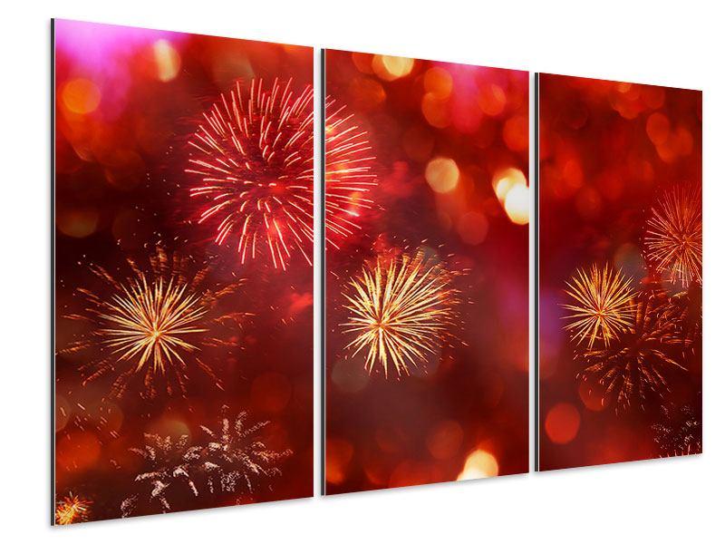 Aluminiumbild 3-teilig Buntes Feuerwerk
