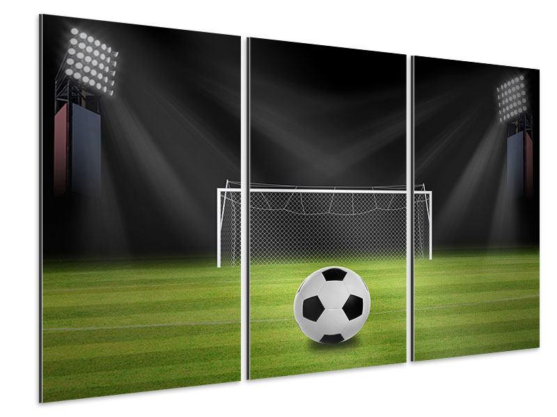 Aluminiumbild 3-teilig Fussball-Tor