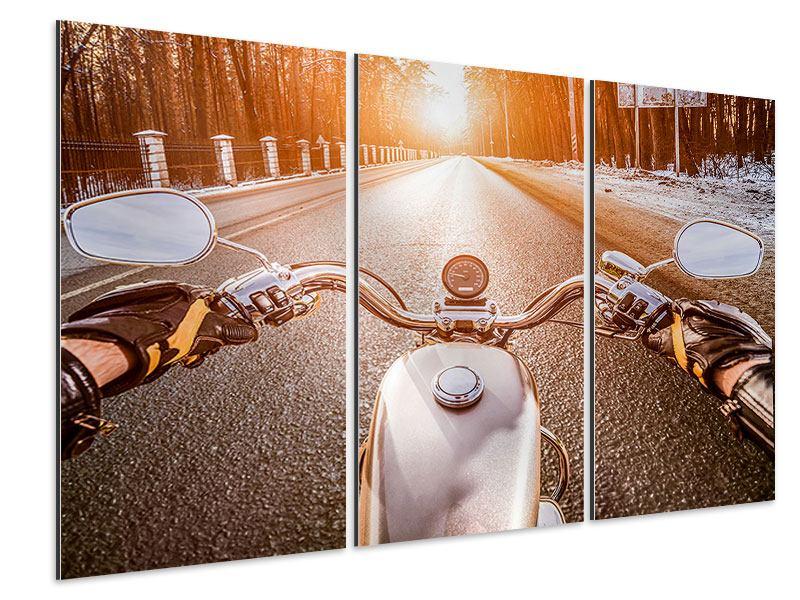 Aluminiumbild 3-teilig Auf dem Motorrad