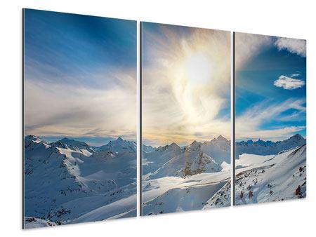 Aluminiumbild 3-teilig Über den verschneiten Gipfeln