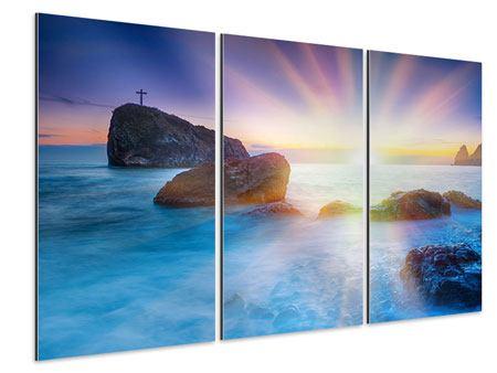 Aluminiumbild 3-teilig Mystisches Meer