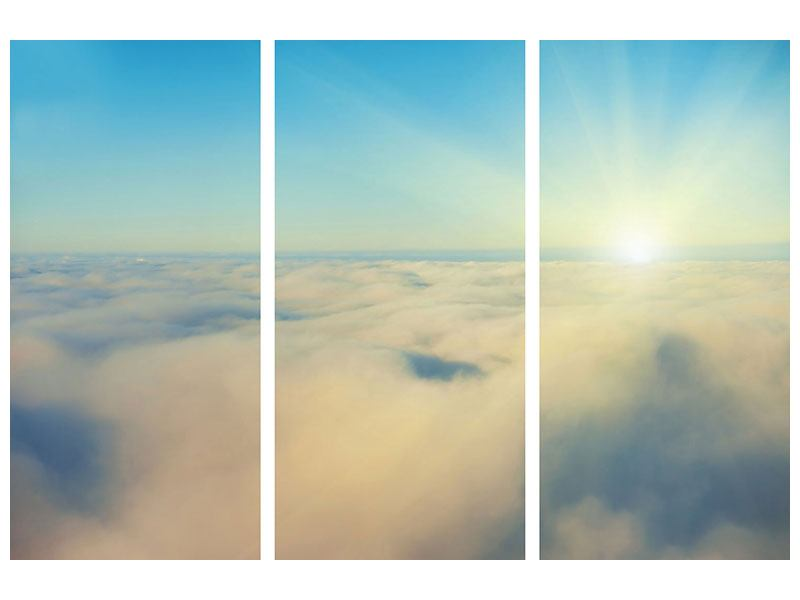 Aluminiumbild 3-teilig Dämmerung über den Wolken