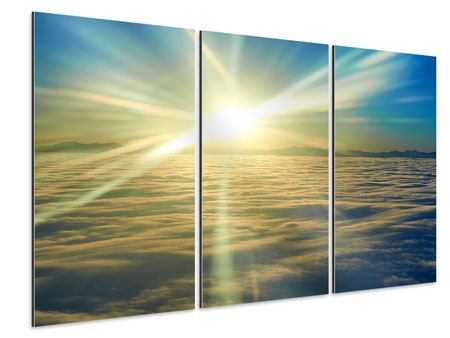 Aluminiumbild 3-teilig Sonnenaufgang über den Wolken