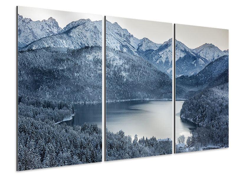 Aluminiumbild 3-teilig Schwarzweissfotografie Berge
