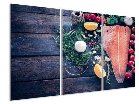 Aluminiumbild 3-teilig Fangfrischer Fisch
