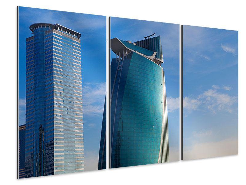 Aluminiumbild 3-teilig Zwei Wolkenkratzer