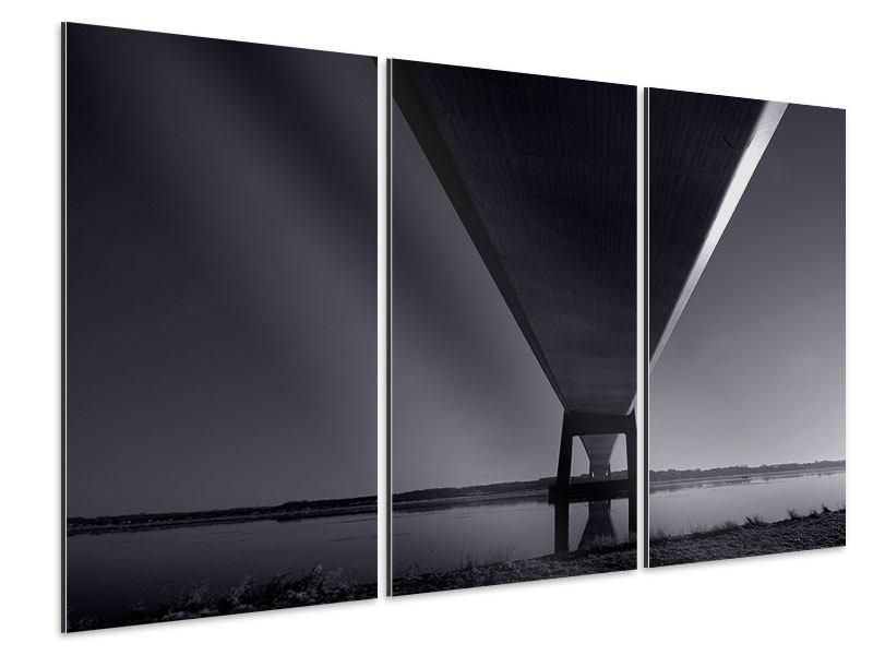 Aluminiumbild 3-teilig Die Brücke über tiefes Wasser