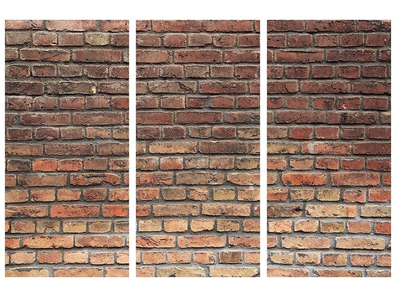 Aluminiumbild 3-teilig Brick Wall