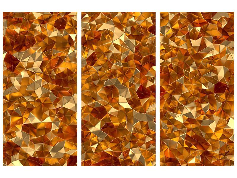 Aluminiumbild 3-teilig 3D-Bernsteine