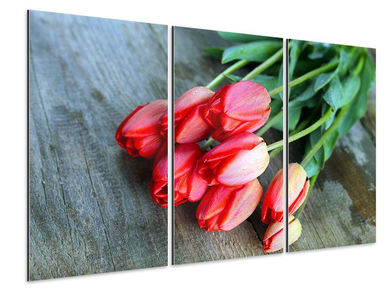 Aluminiumbild 3-teilig Der rote Tulpenstrauss
