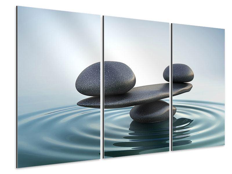 Aluminiumbild 3-teilig Steinbalance