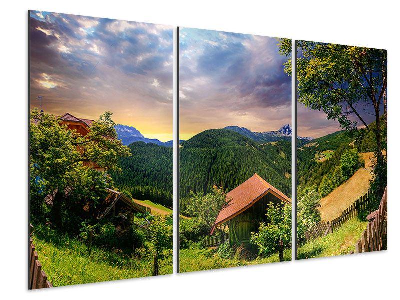 Aluminiumbild 3-teilig Schweizer Berge im Sommer