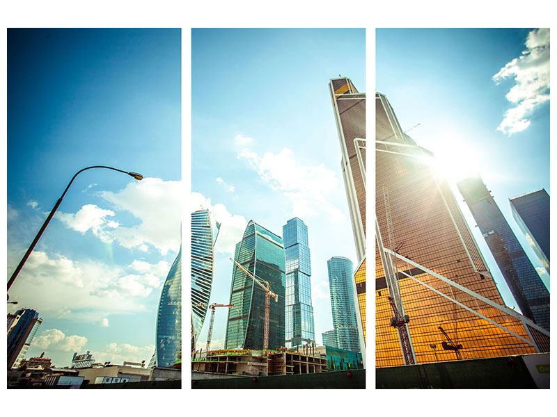 Aluminiumbild 3-teilig Wolkenkratzer Moskau