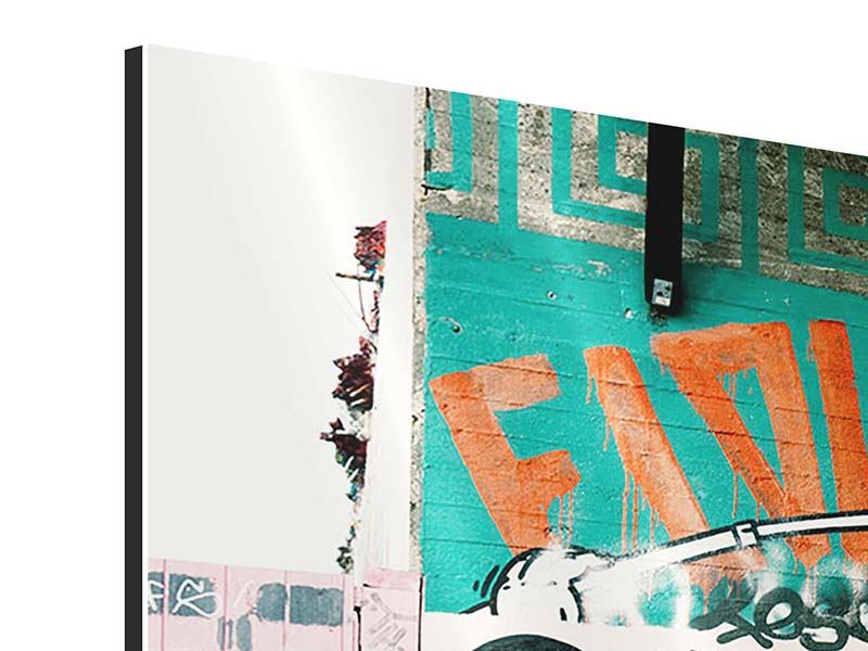 Aluminiumbild 3-teilig Graffiti im Hinterhof