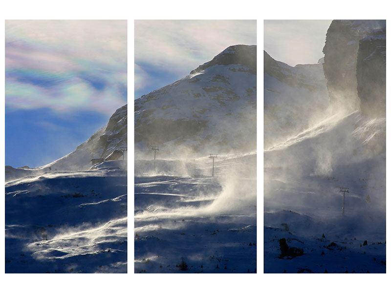 Aluminiumbild 3-teilig Mit Schneeverwehungen den Berg in Szene gesetzt