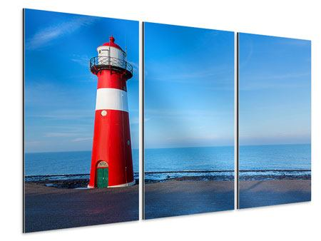 Aluminiumbild 3-teilig Sommer beim Leuchtturm