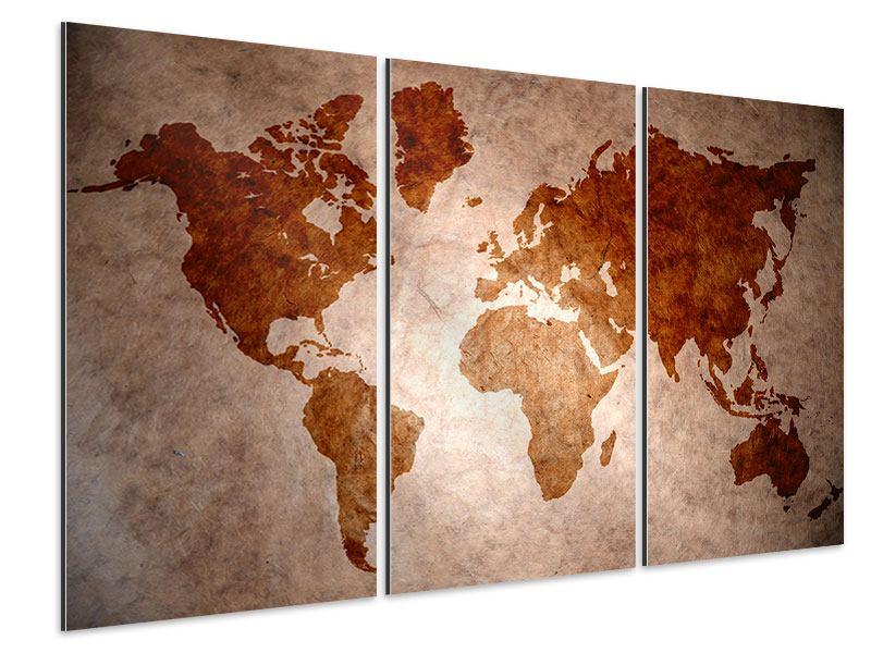 Aluminiumbild 3-teilig Vintage-Weltkarte