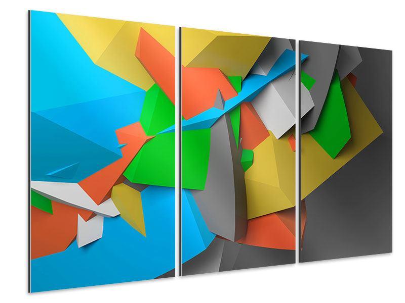 Aluminiumbild 3-teilig 3D-Geometrische Figuren