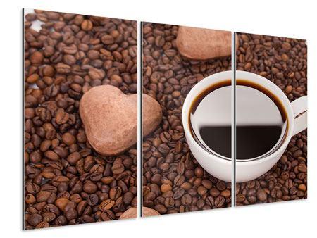 Aluminiumbild 3-teilig Pausenkaffee