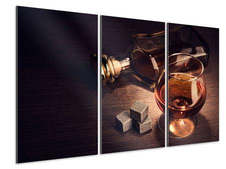 Aluminiumbild 3-teilig Ein Glas Cognac