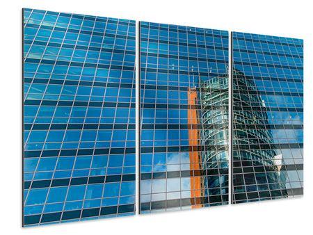Aluminiumbild 3-teilig Wolkenkratzer-Spiegel