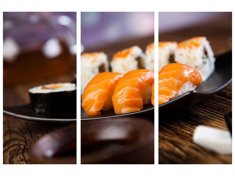 Aluminiumbild 3-teilig Sushi-Gericht