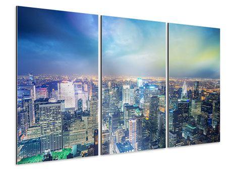 Aluminiumbild 3-teilig Skyline NY bei Sonnenuntergang