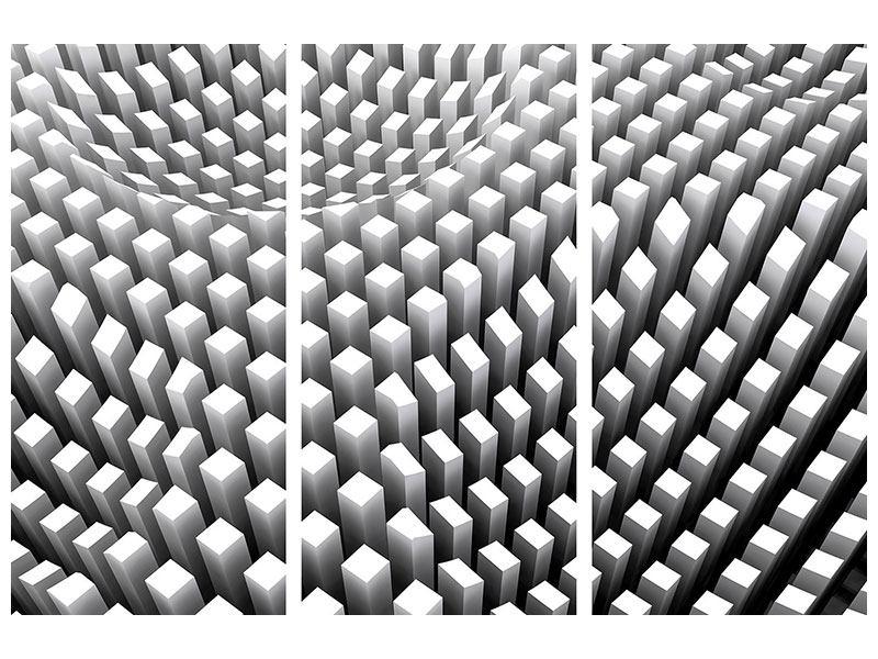 Aluminiumbild 3-teilig 3D-Rasterdesign