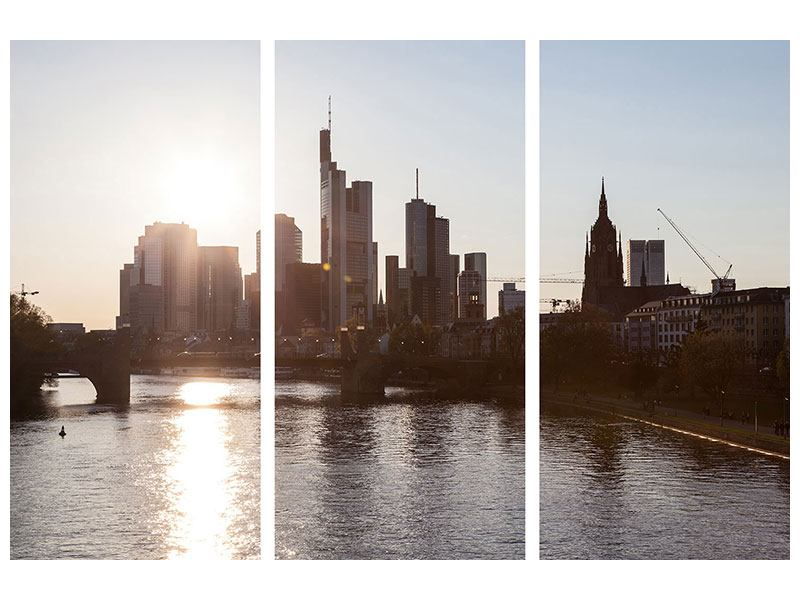 Aluminiumbild 3-teilig Skyline Sonnenaufgang bei Frankfurt am Main