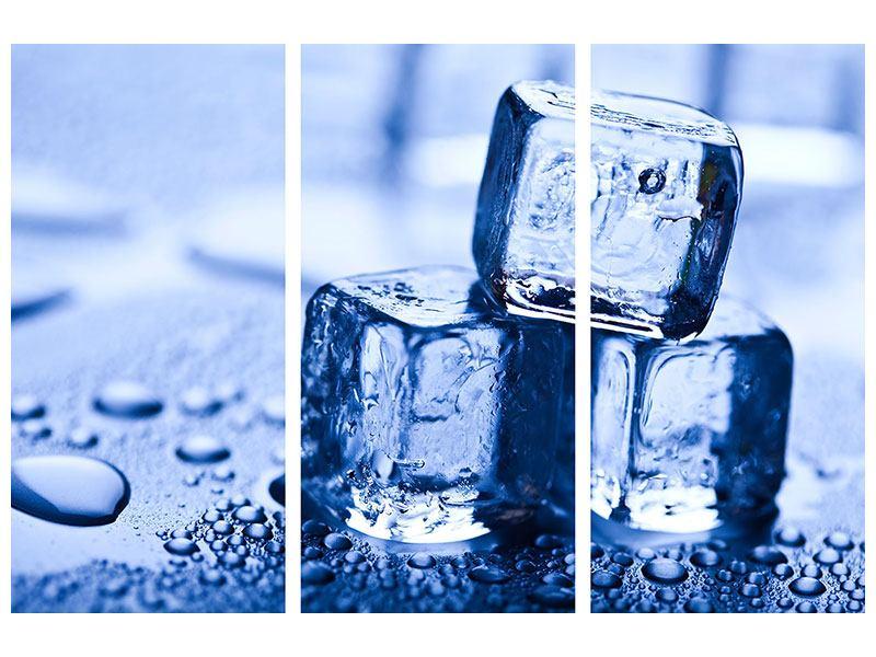 Aluminiumbild 3-teilig Eiswürfel